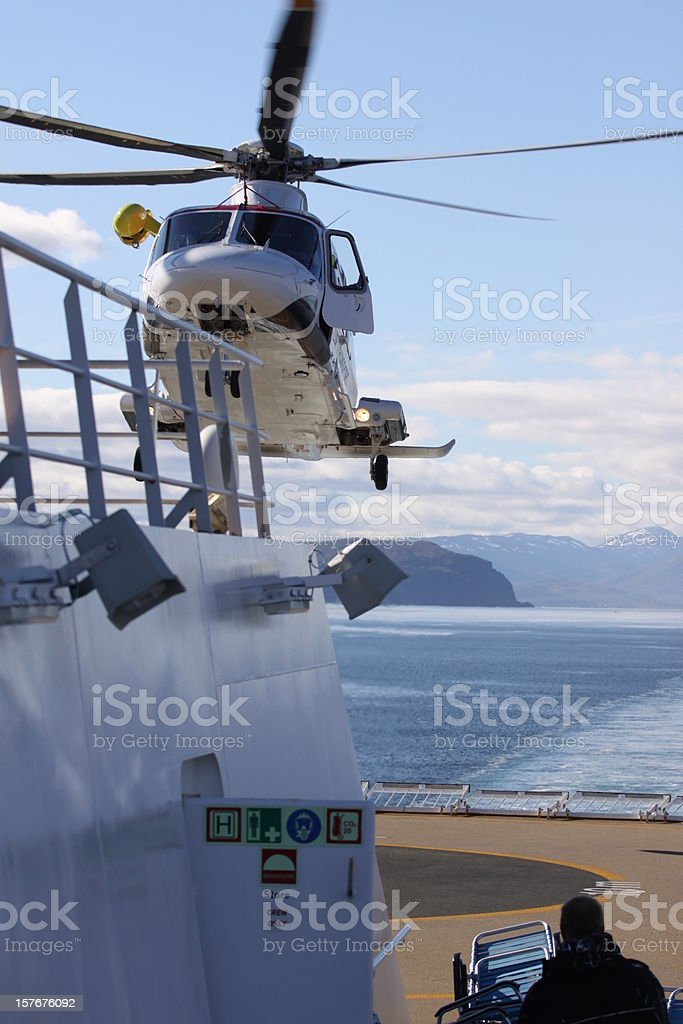 rescue helicopter on ships deck royalty-free stock photo