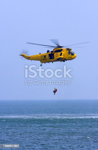 A Rescue Helicopter saving a life