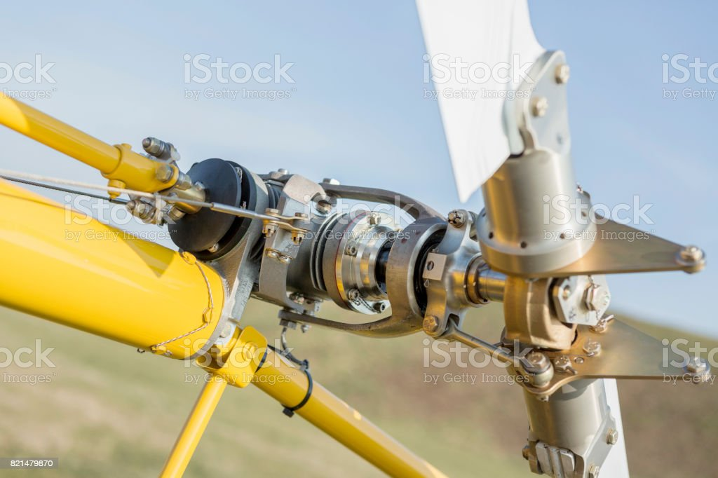 Rescue helicopter rotor blade detail close up stock photo