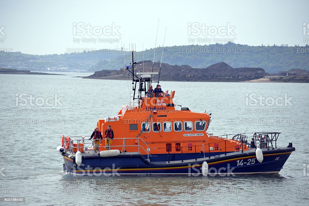 rescue lifeboat in cobh harbour stock photo