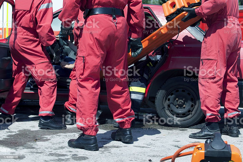 Rescue operation after a car crash royalty-free stock photo