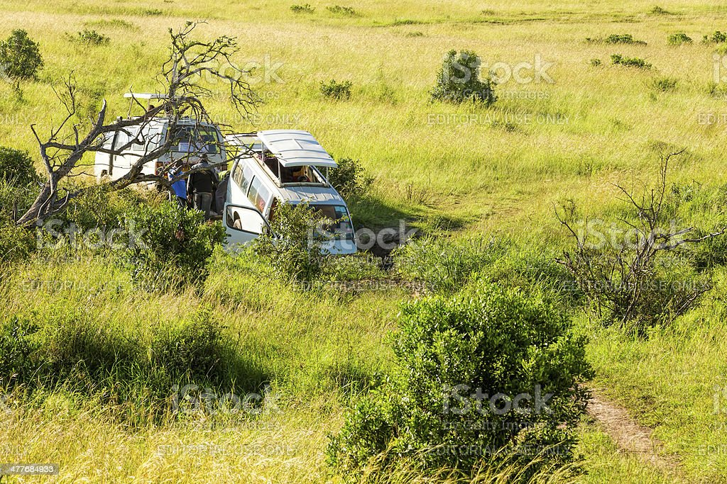Rescue operation at safari tour in Masai mara royalty-free stock photo