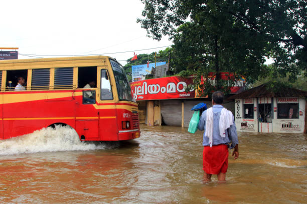 Rescue operations in the flood affected state of Kerala in India stock photo