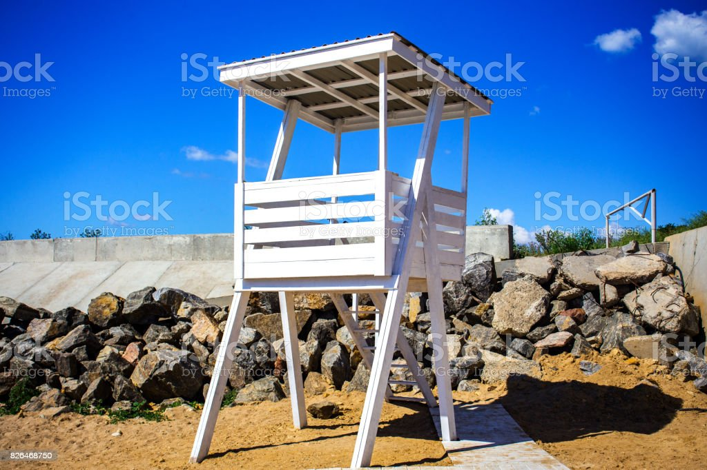 Rescue post on the beach. Watchdog on the beach stock photo