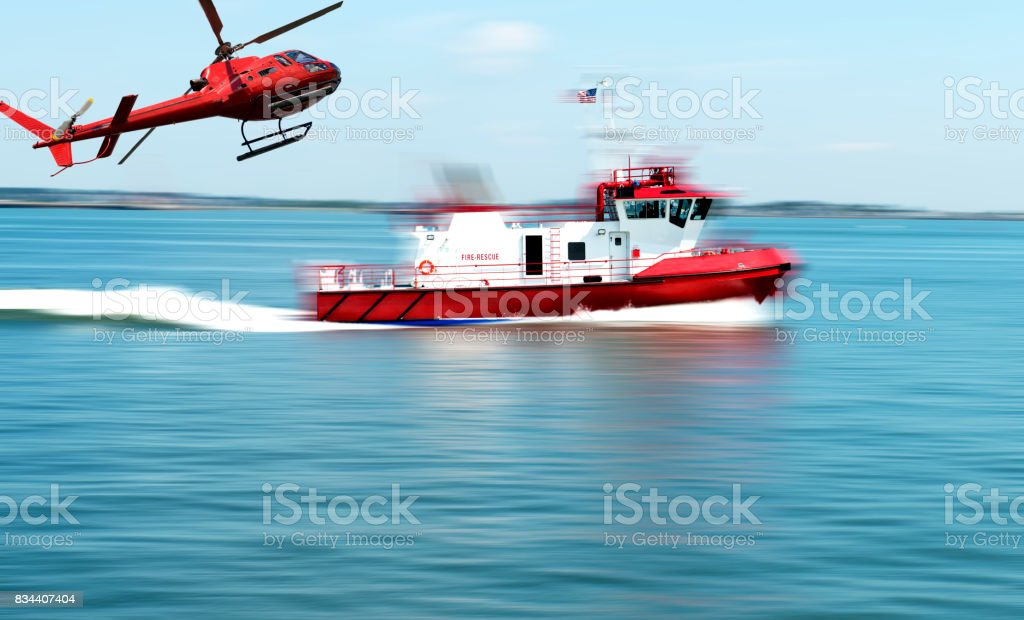 Rescue service for boat accident stock photo