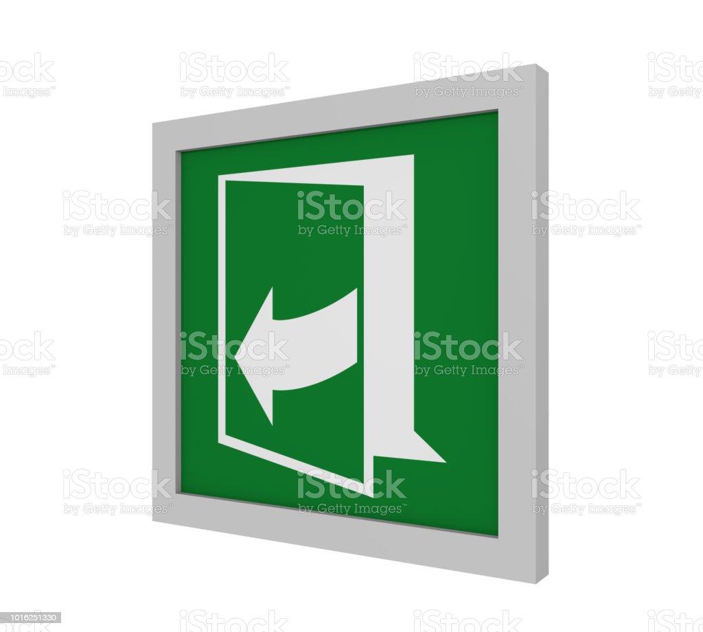 (Tür Öffnen Durch Ziehen Auf der Ausgangspunkt Seite) Rettungszeichen Nach ASR a1. (3) / ISO. Seitenansicht, – Foto