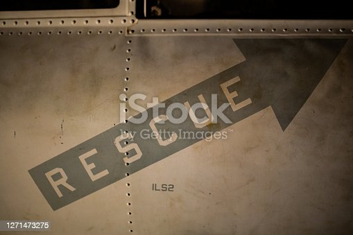 Close up of a rescue sign on the side of a US Marines Cobra helicopter