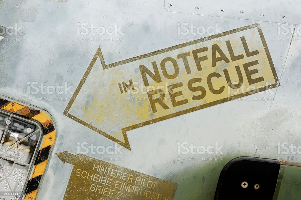 Rescue sign on an airplane royalty-free stock photo
