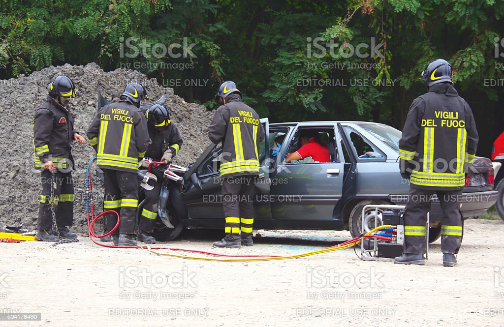 Rescue Simulation Of Accident Stock Photo & More Pictures of ...