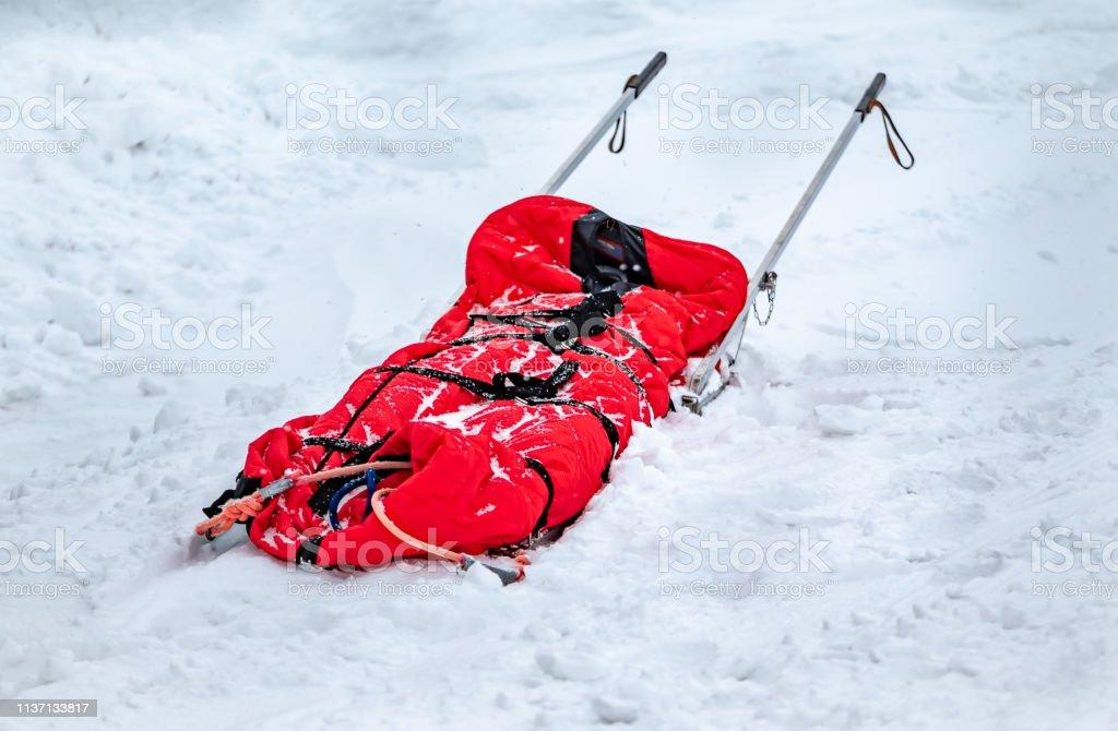 Rescue Sledge drag harrows, medical aid station in mountains ski...