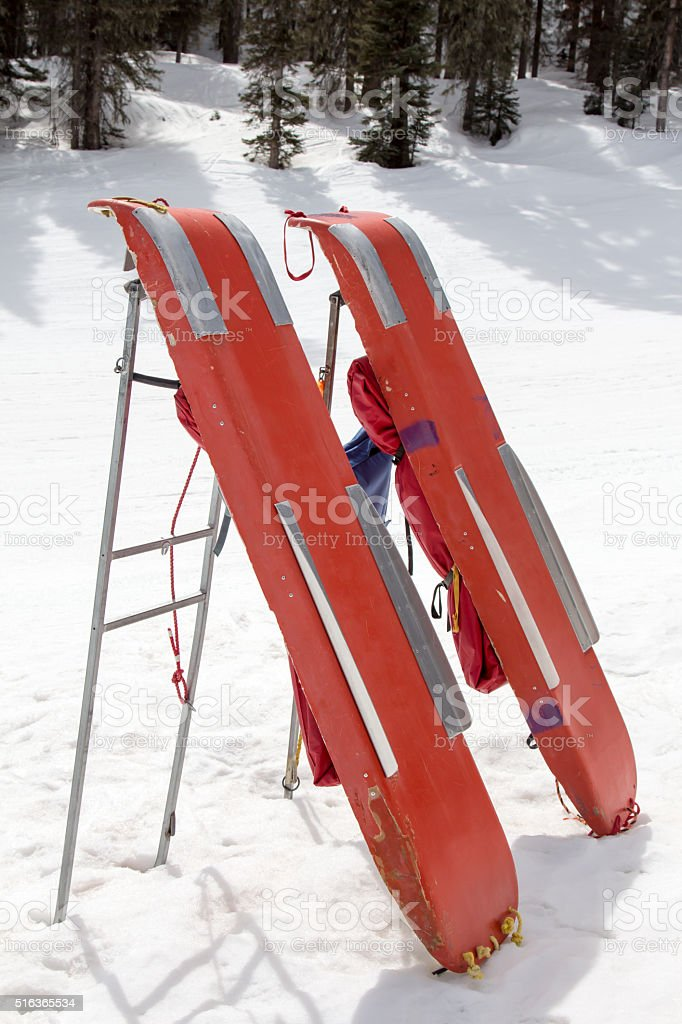 Rescue sleds for emergency use at a ski hill stock photo