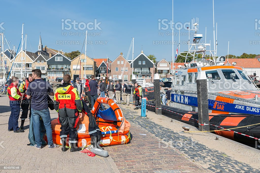 Urk, The Netherlands - September 24, 2016: Rescue workers showing a...