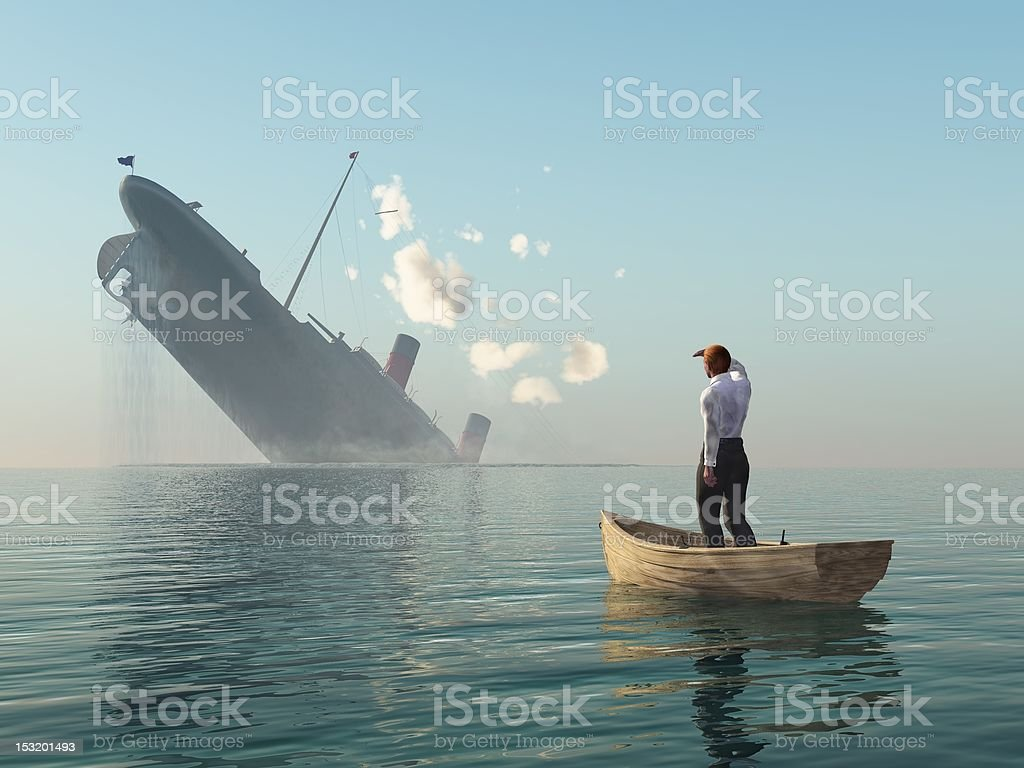 rescued man in boat looking on shipwreck stock photo