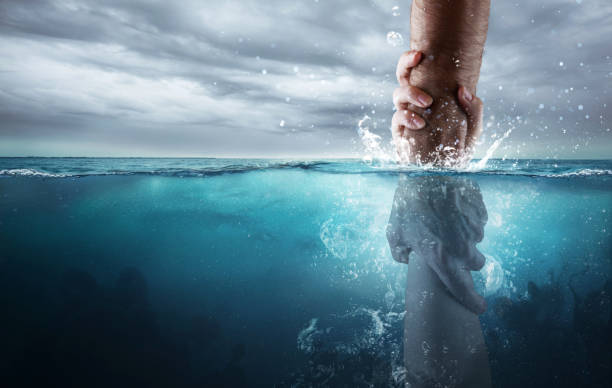 Rescued under water stock photo