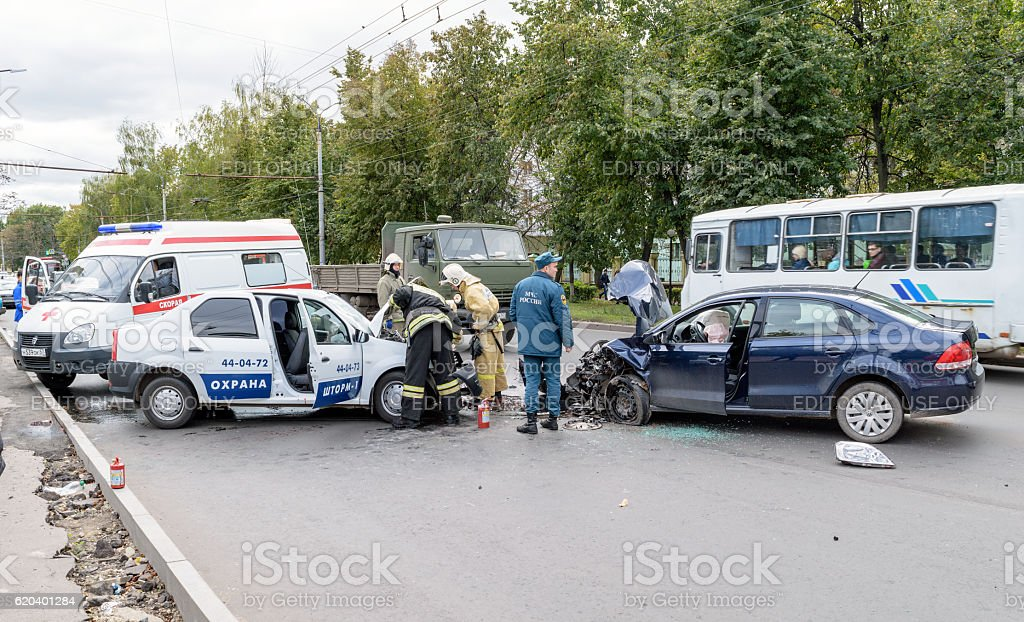 Rescuers in place of traffic accident stock photo