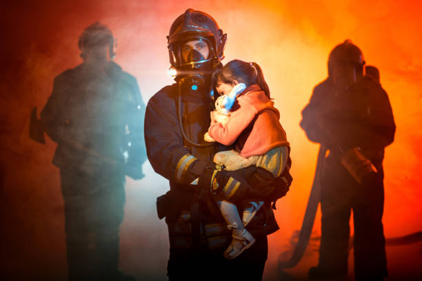 Rescuing from Fire stock photo