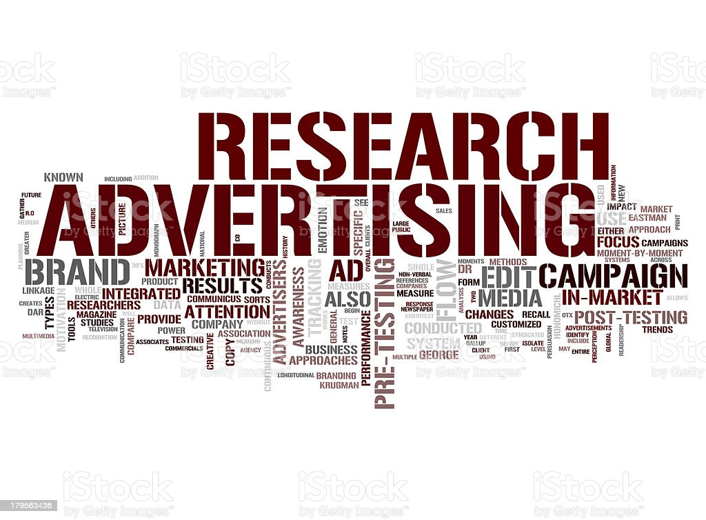Research advertising collage concepts royalty-free stock photo