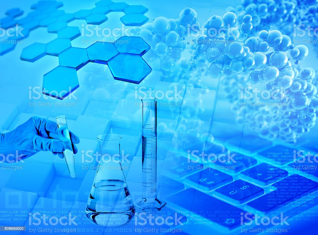 research and analysis abstract blue background stock photo