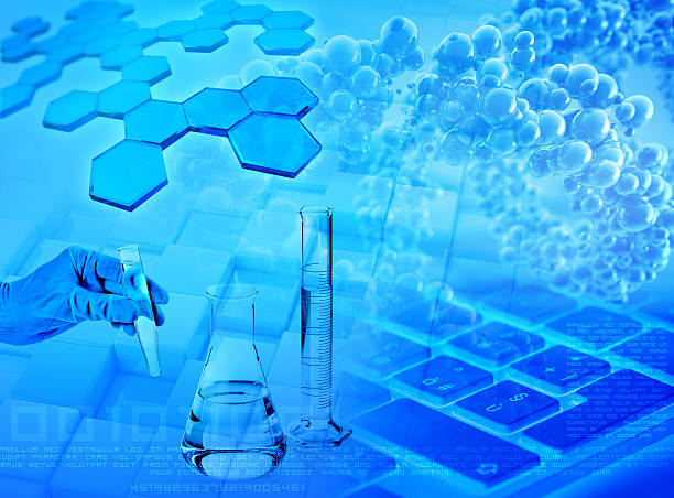 research and analysis abstract blue background ストックフォト