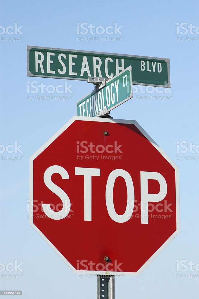 Research Blvd and Stop Sign, Road Sign royalty-free stock photo