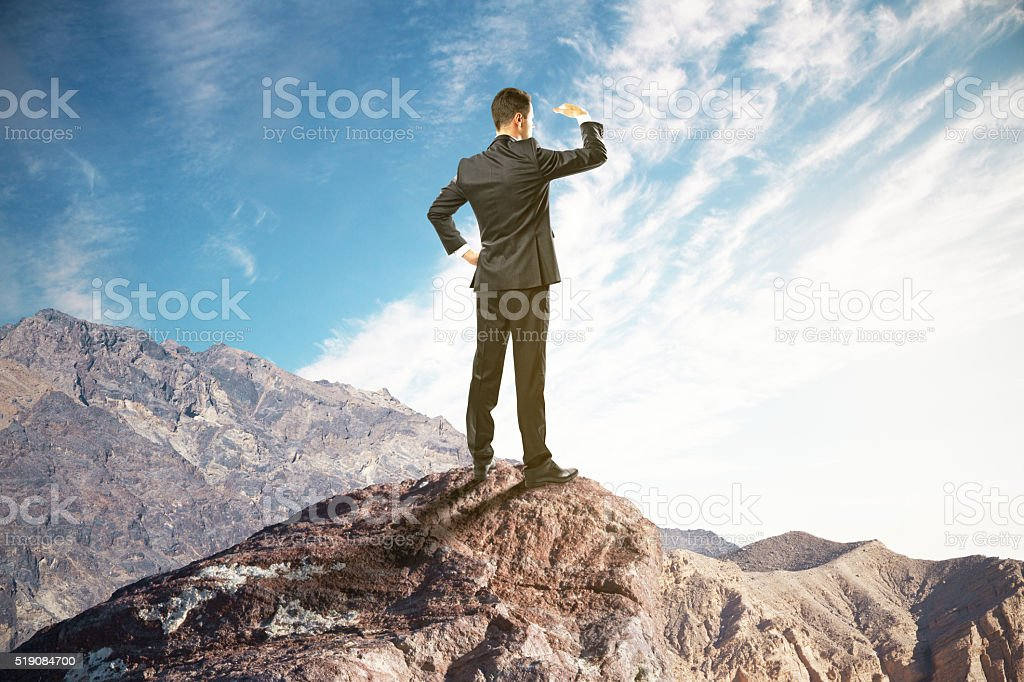 Research concept on mountain stock photo