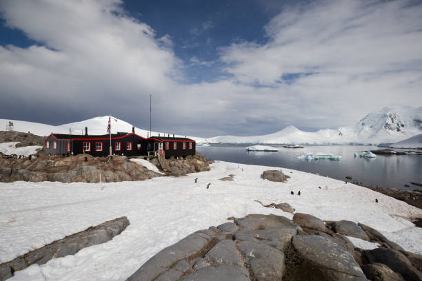 Research Hut at Port Lockroy, Antarctica stock photo