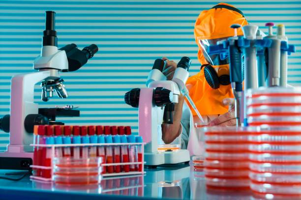 Research Of dangerous viruses in the laboratory. Prevention of a stock photo