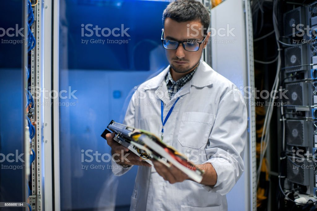 Research Scientist in Data Center stock photo