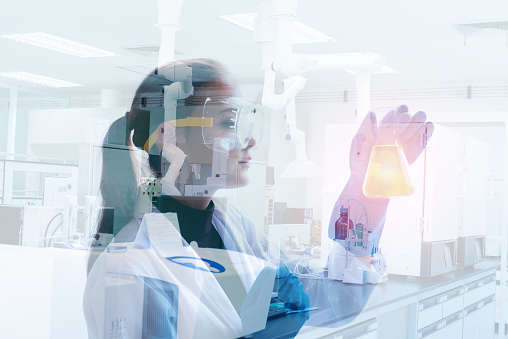 Research scientist in laboratory room., Science, chemistry, technology, biology., Double exposure concept.