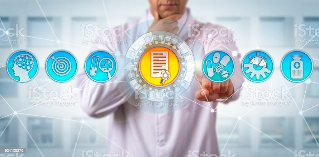 Research Scientist Receiving Drug Approval stock photo