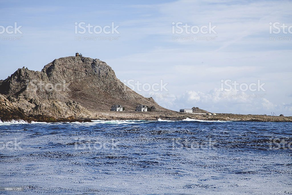 Research Station at Farallon Islands from boat stock photo