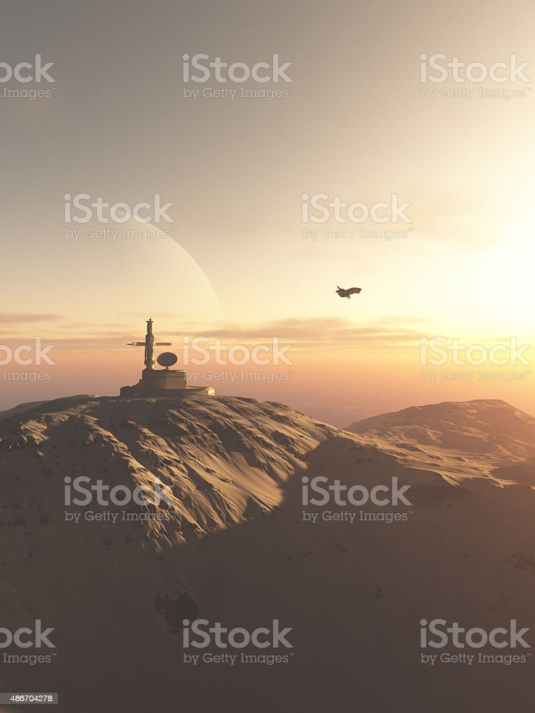 Research Station Outpost on a Desert Planet stock photo