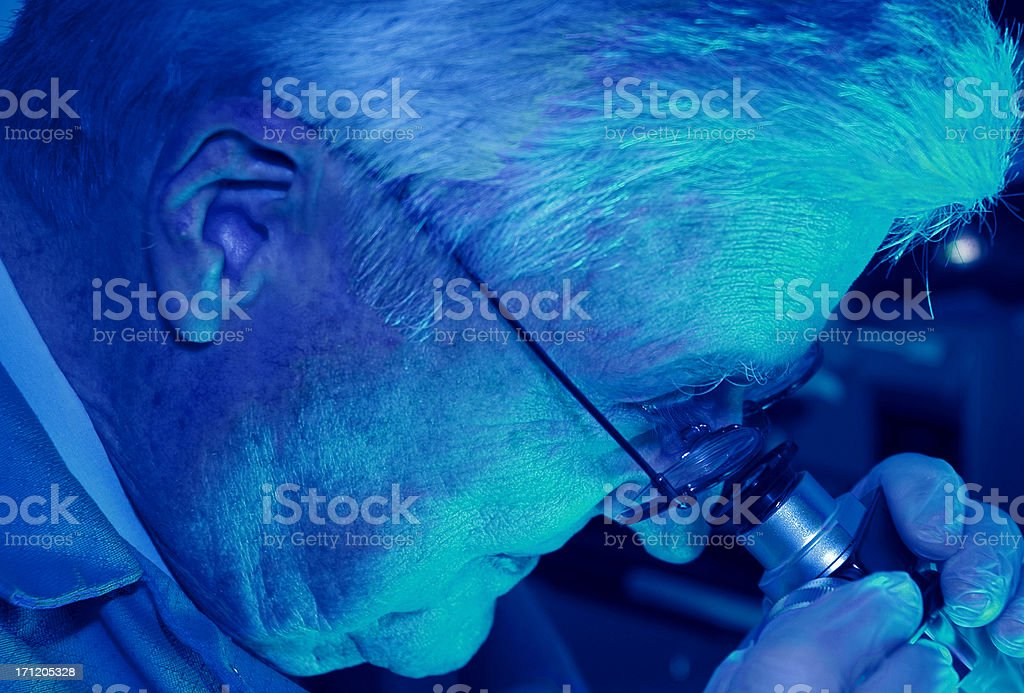 Research Technician in Blue Light royalty-free stock photo