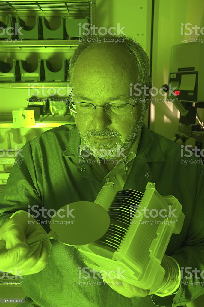 Research Technician Under Green Light royalty-free stock photo