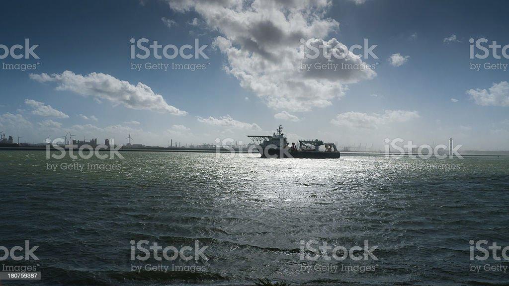 Research Vessel in  the Sun stock photo