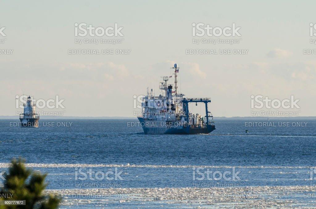 Research vessel Ocean Researcher in Buzzards Bay stock photo