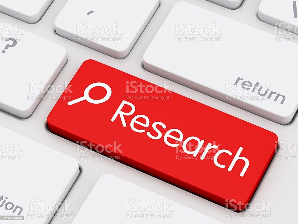 Research written on keyboard key stock photo