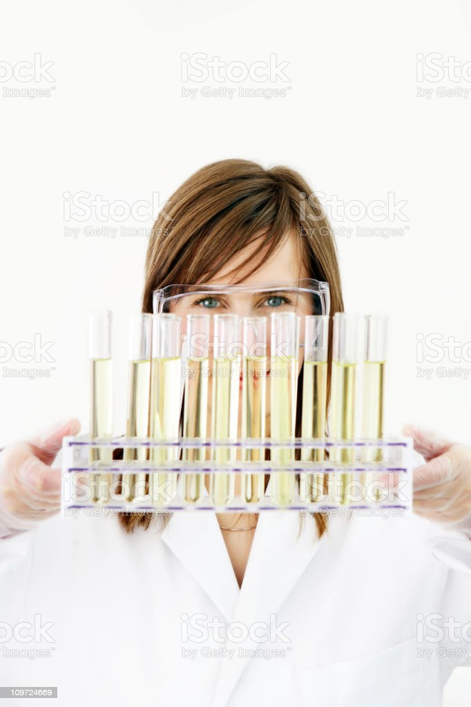 Researcher holding test tubes royalty-free stock photo