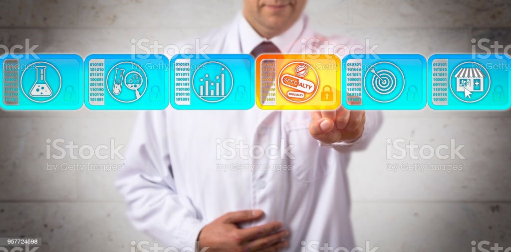 Researcher Selecting Specialty Drug In Blockchain stock photo