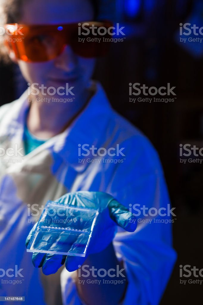 Researcher with an agarose gel plate stock photo