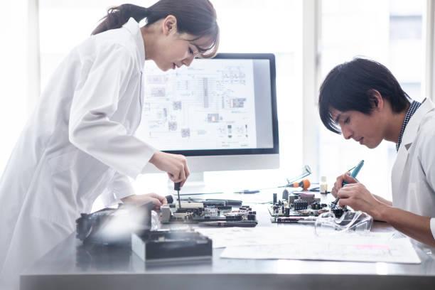 Researchers who make prototypes. stock photo