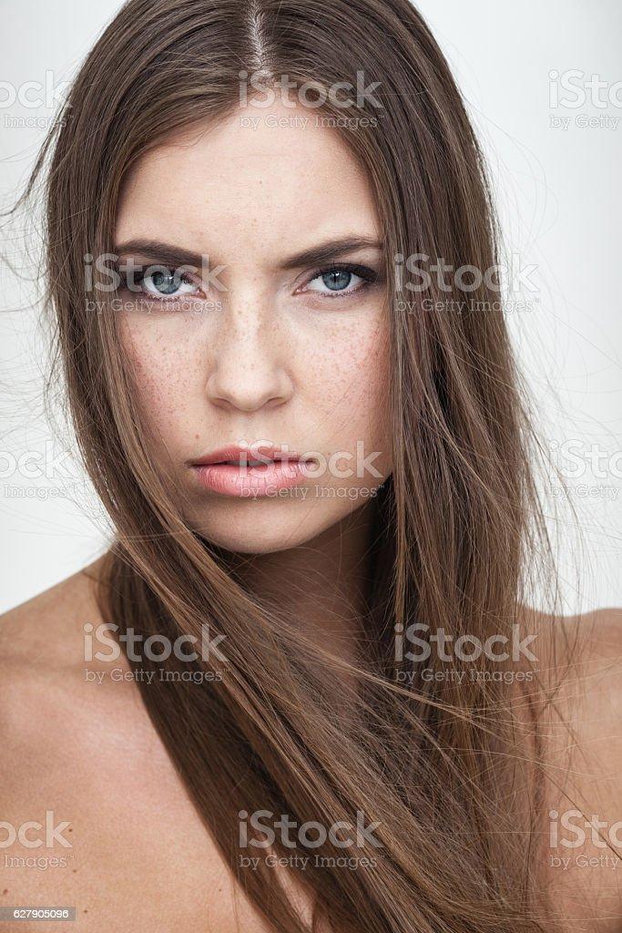 resentful woman portrait stock photo