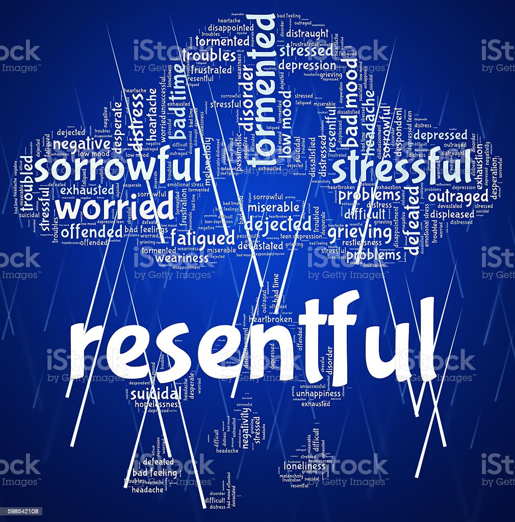 Resentful Word Represents In A Huff And Disgruntled photo libre de droits