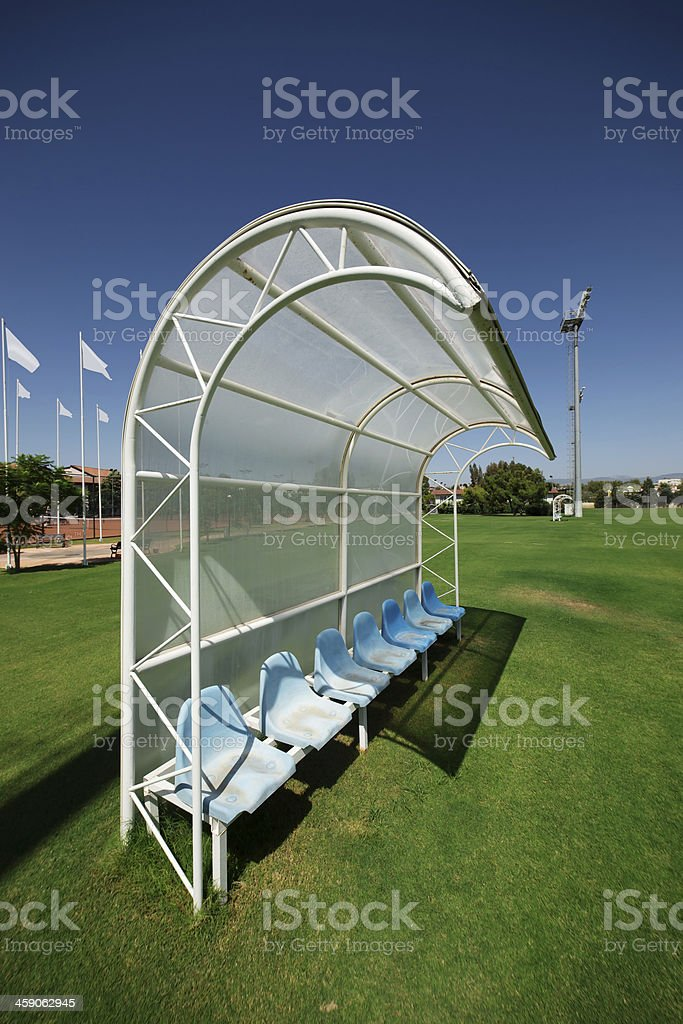 Reserve and staff bench in sport stadium stock photo