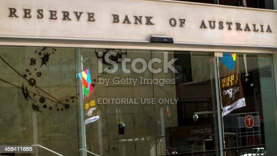 Sydney, Australia - October 26, 2013: Main Entrance of the Reserve Bank of Australia
