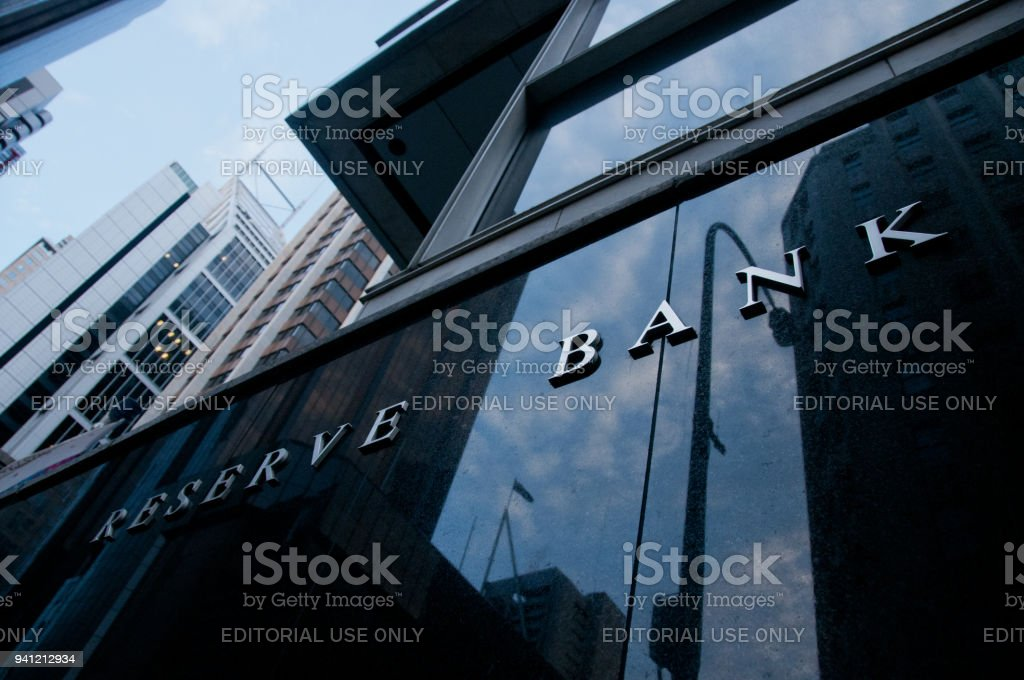 Reserve bank of Australia text on the black stone wall in Sydney stock photo