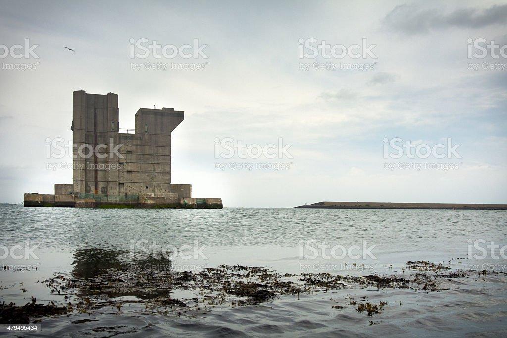 reserve pillar dutch sea defence stock photo