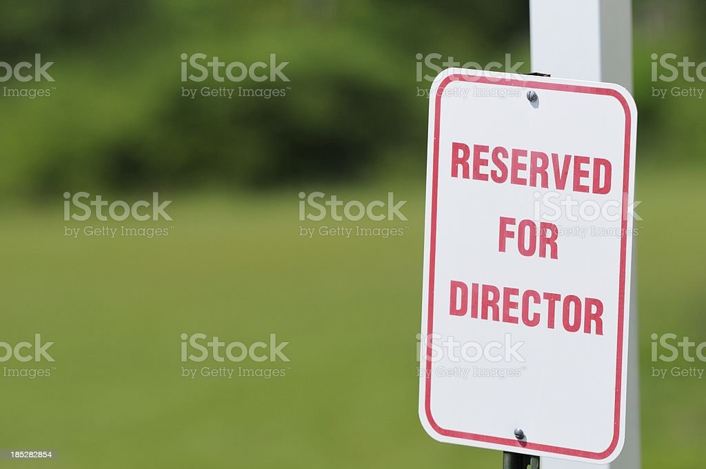 Reserved for director parking sign royalty-free stock photo