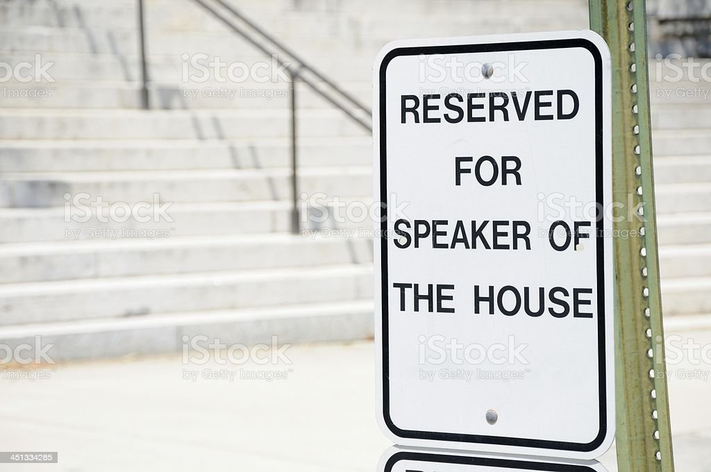 Reserved for speaker of the house stock photo