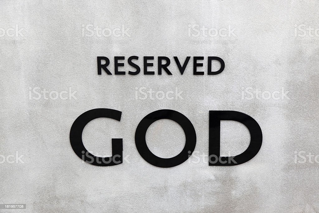 Reserved GOD - sign in carpark royalty-free stock photo
